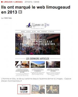 Ils ont marqué le web limougeaud en 2013 - article populaire limoges