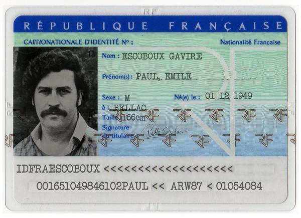 carte identité pablo escobar