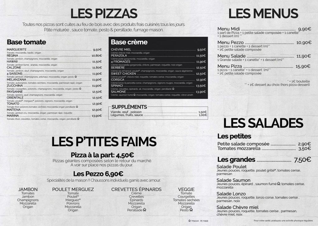 Menu de Pizza Pezzo
