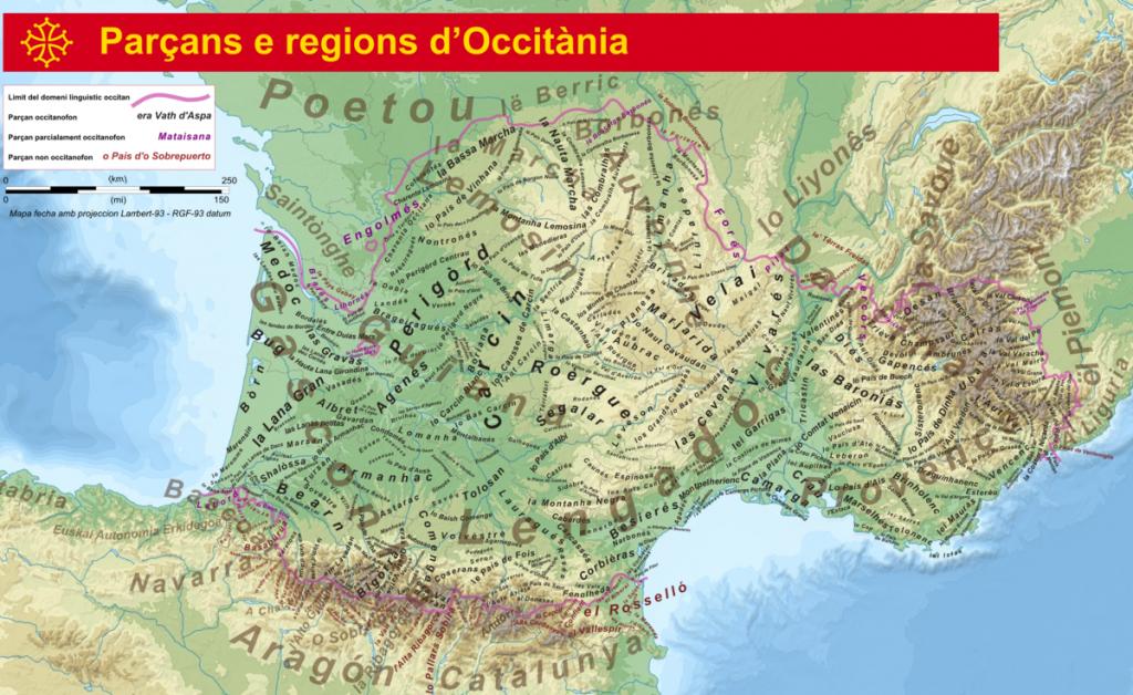 Carte des régions où l'occitan est parlé