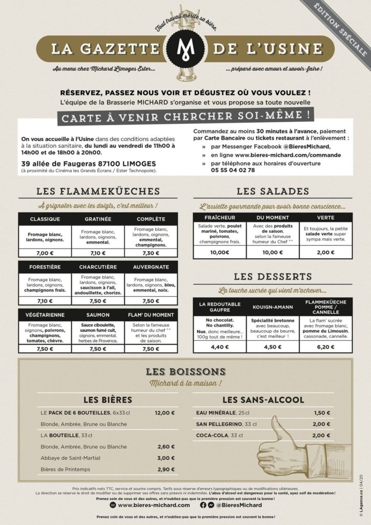 Carte de la brasserie Michard
