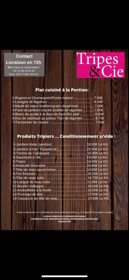 Plats et produits sous vides de Tripes & Cie