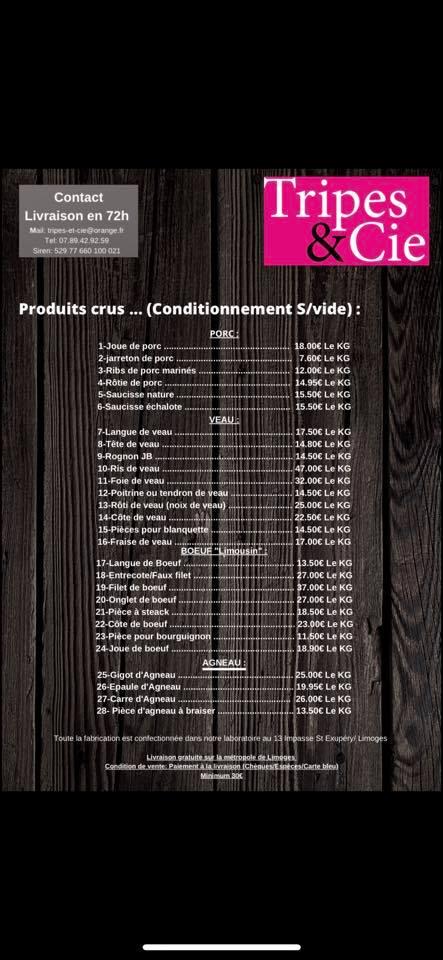 Produits crus de Tripes & Cie