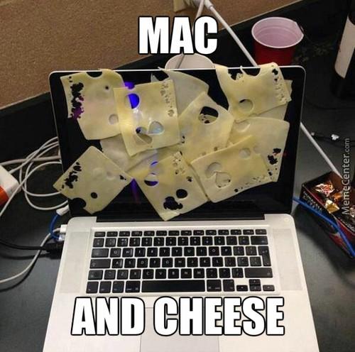 meme de fromage sur un ordinateur Mac, un mac and cheese