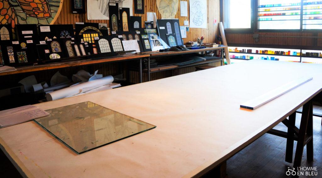 Table pour dessiner la maquette du vitrail