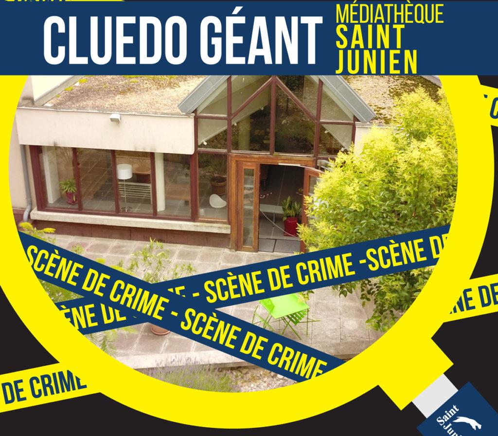 Affiche du Cluedo Géant organisé à Saint Junien pour les Journées européennes du Patrimoine