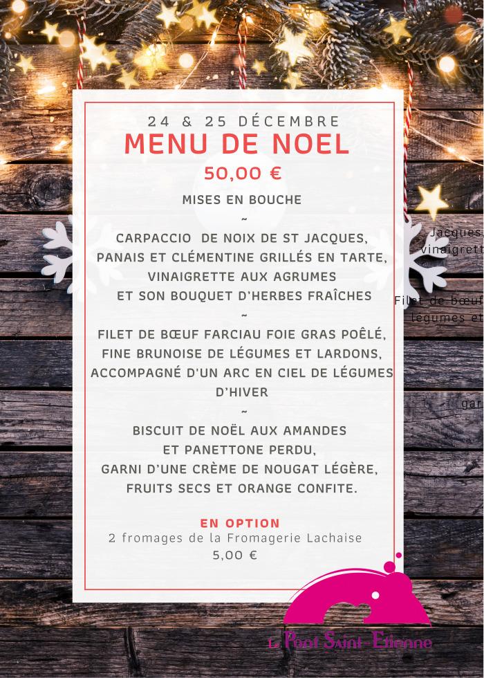 Menu de Noël du Pont Saint-Etienne à Limoges